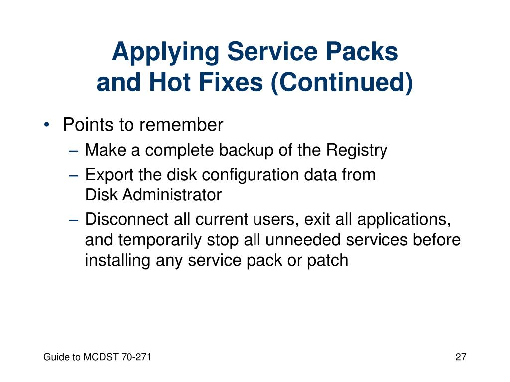 Applying Service Packs