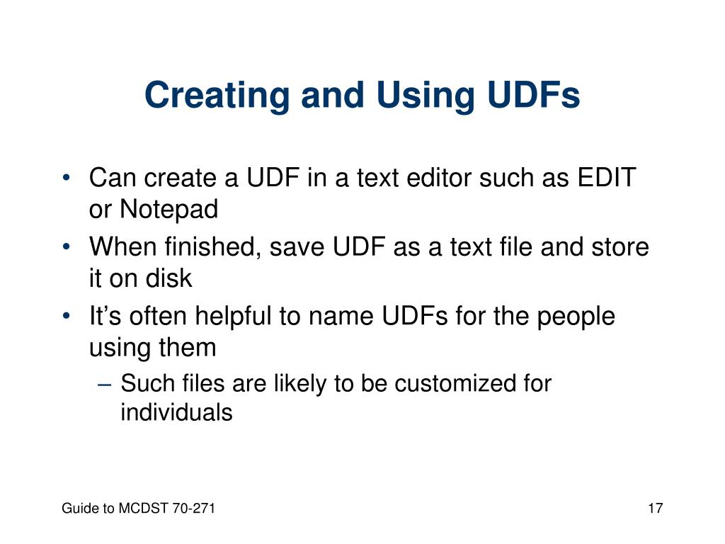 Creating and Using UDFs