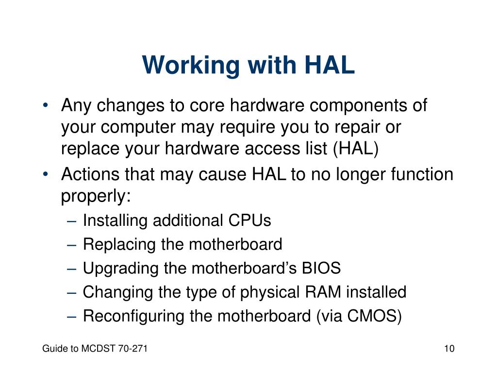 Working with HAL