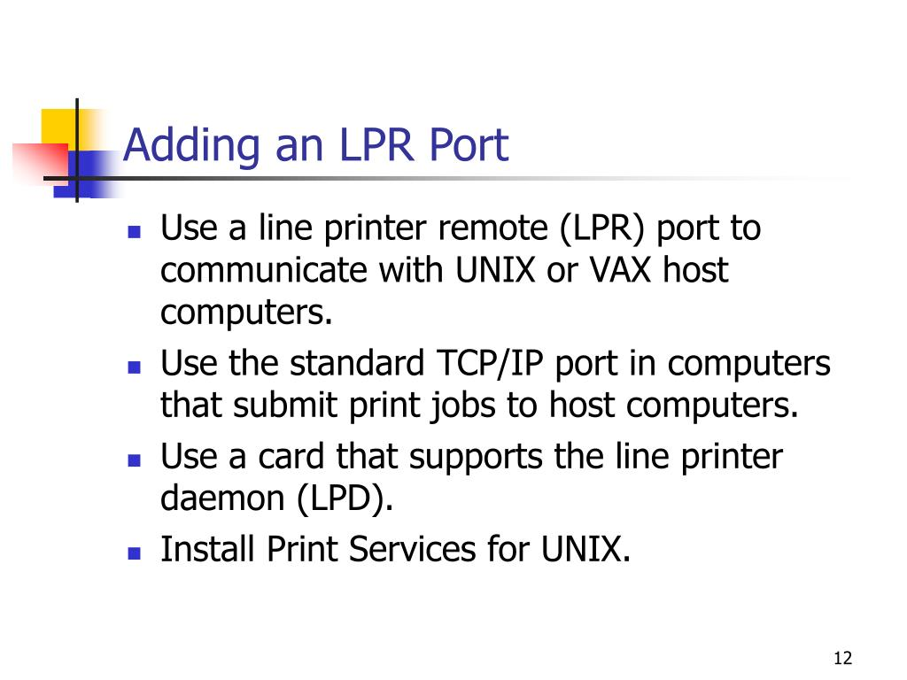Adding an LPR Port