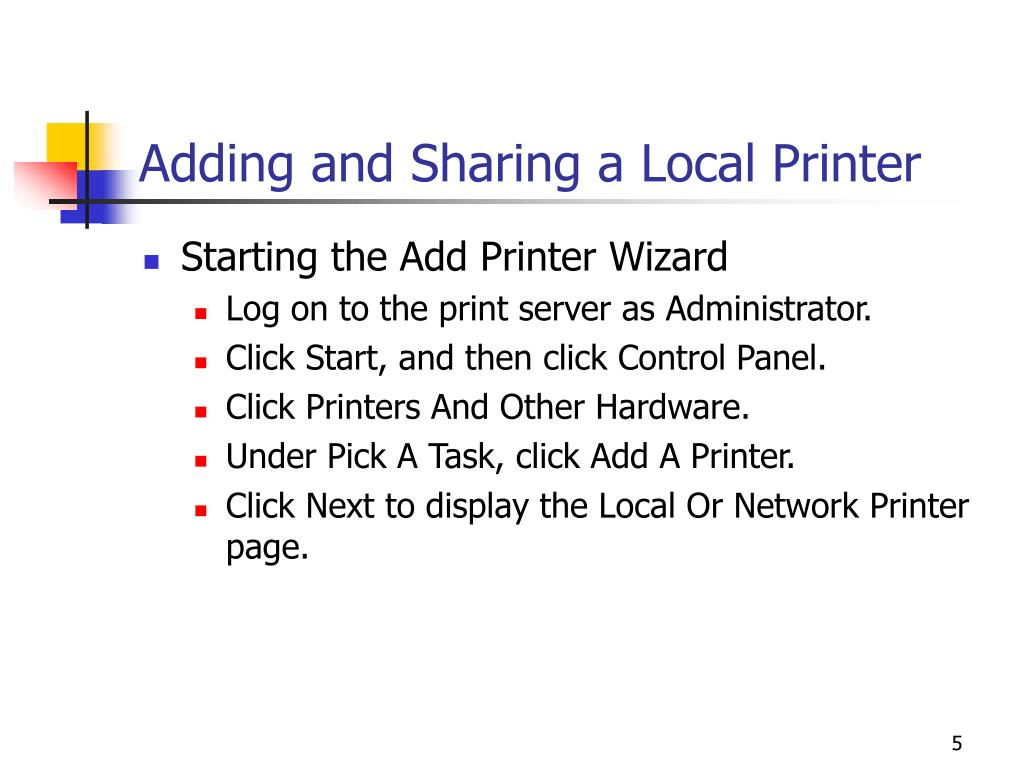 Adding and Sharing a Local Printer
