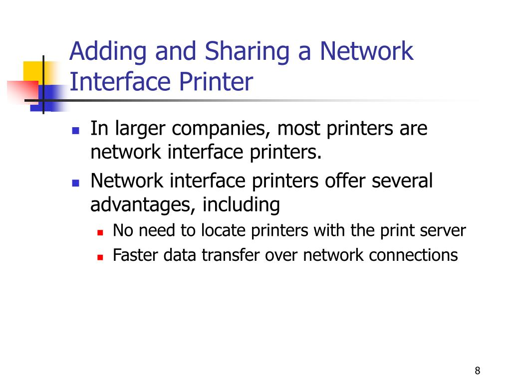 Adding and Sharing a Network Interface Printer