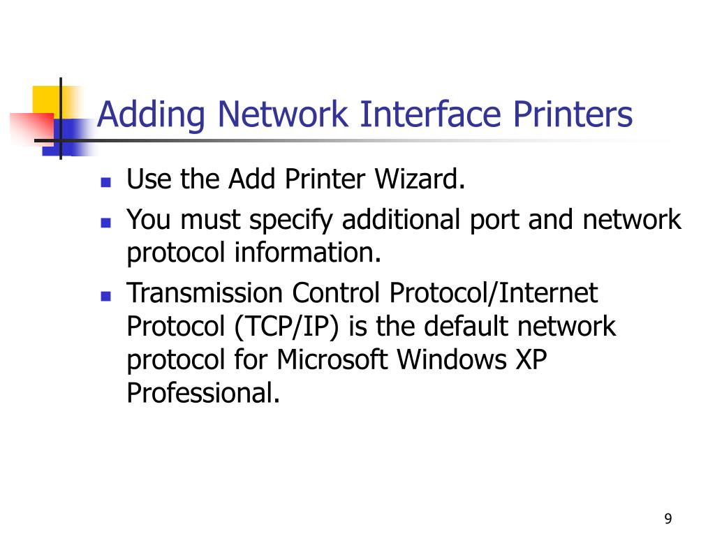 Adding Network Interface Printers