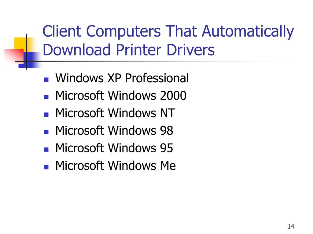 Client Computers That Automatically Download Printer Drivers