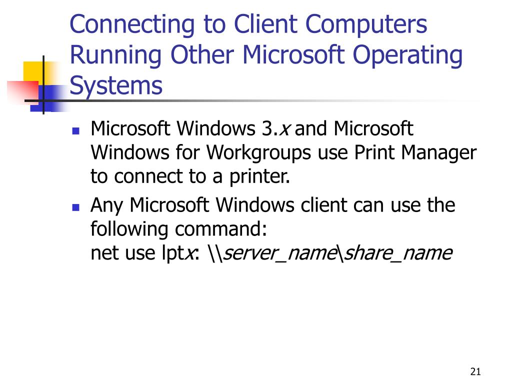 Connecting to Client Computers Running Other Microsoft Operating Systems