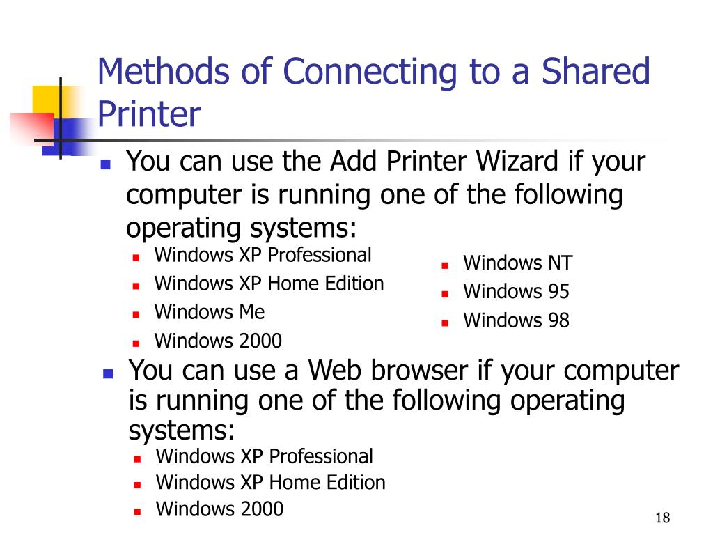 Methods of Connecting to a Shared Printer
