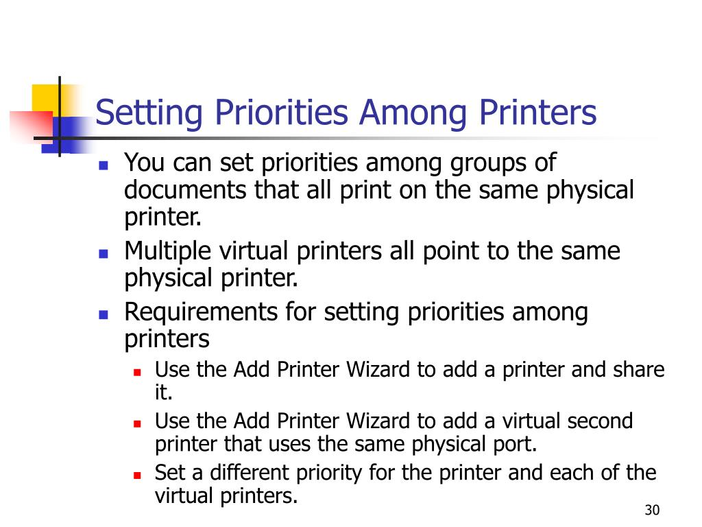 Setting Priorities Among Printers