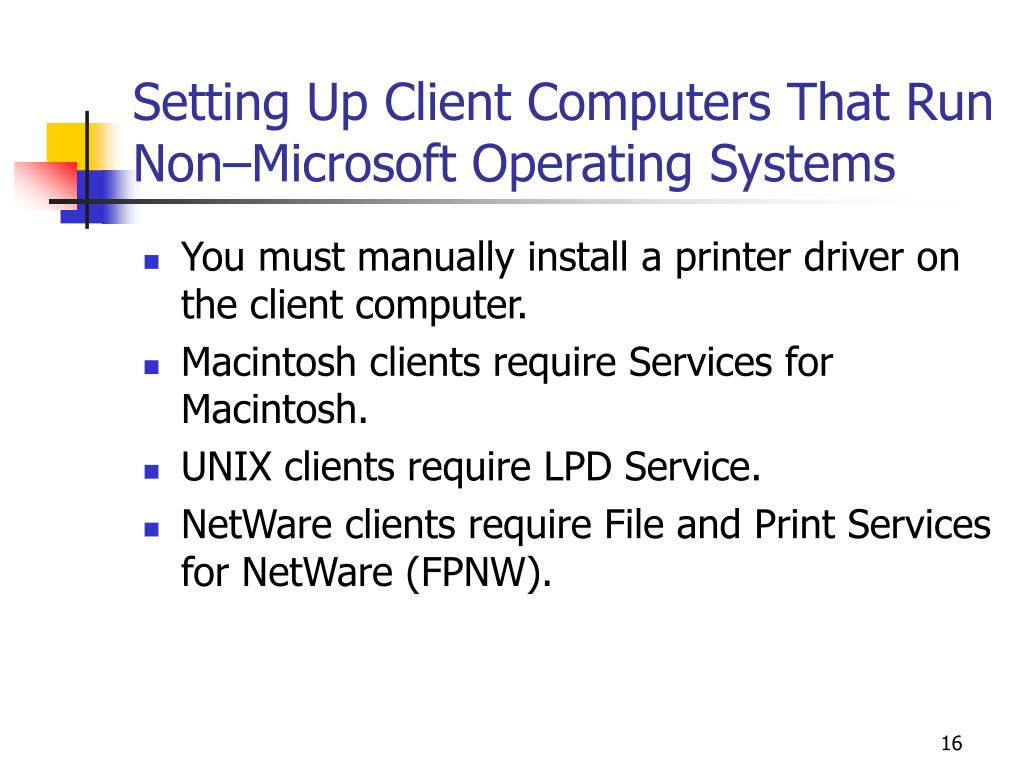 Setting Up Client Computers That Run Non–Microsoft Operating Systems