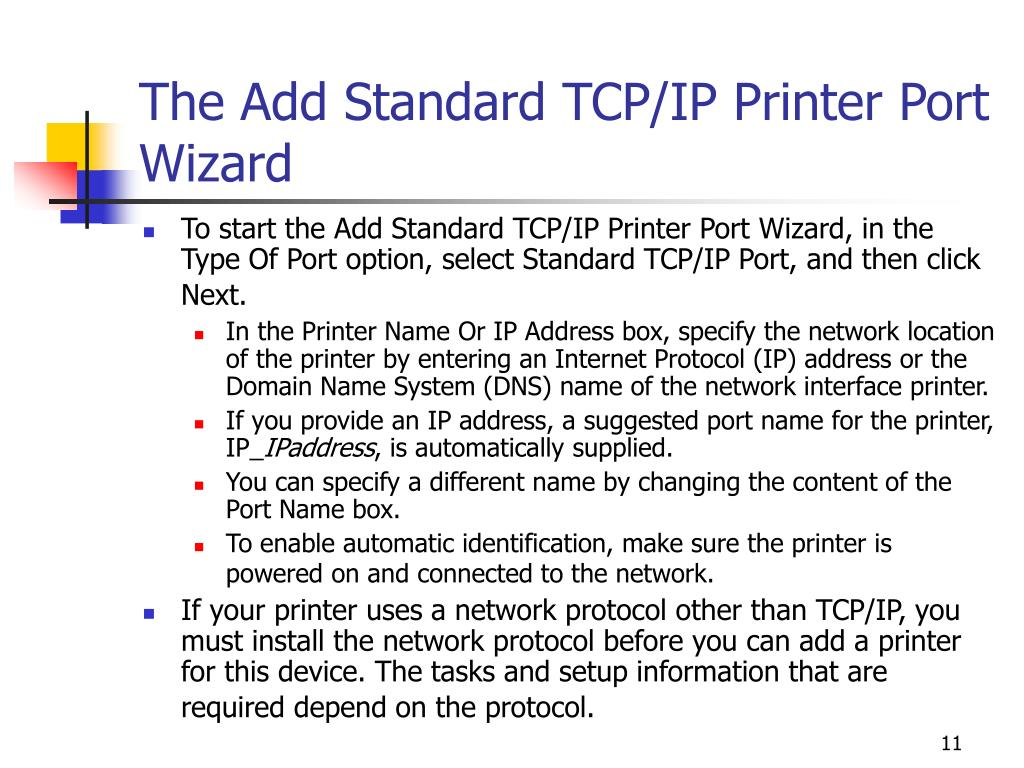 The Add Standard TCP/IP Printer Port Wizard