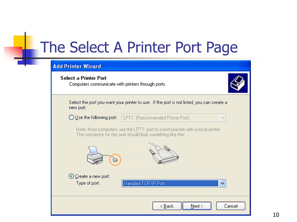 The Select A Printer Port Page