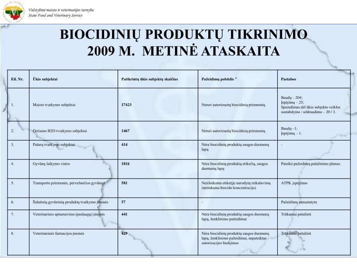 BIOCIDINIŲ PRODUKTŲ TIKRINIMO 2009 M.  METINĖ ATASKAITA
