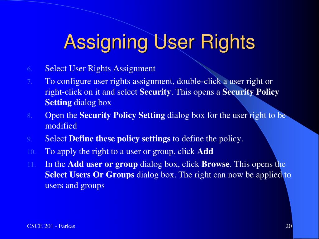 Assigning User Rights