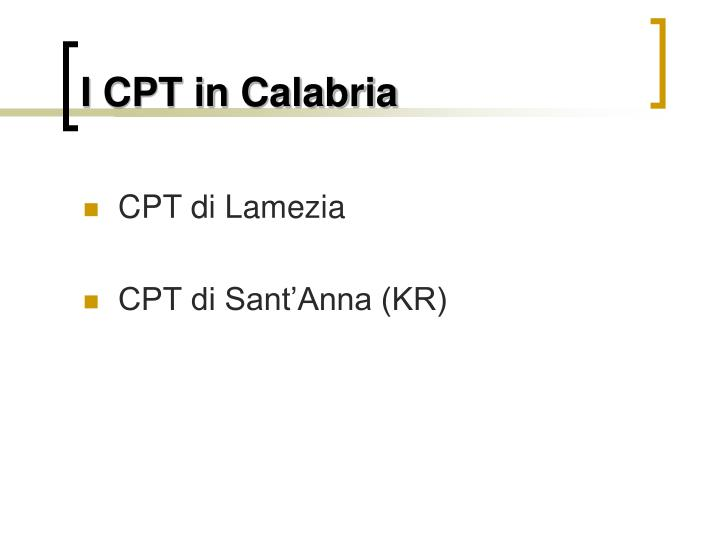 I CPT in Calabria