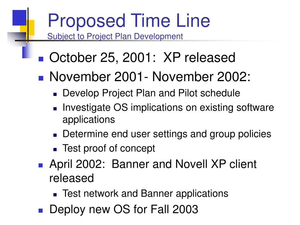 Proposed Time Line