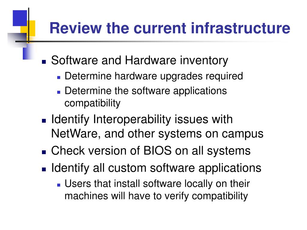 Review the current infrastructure
