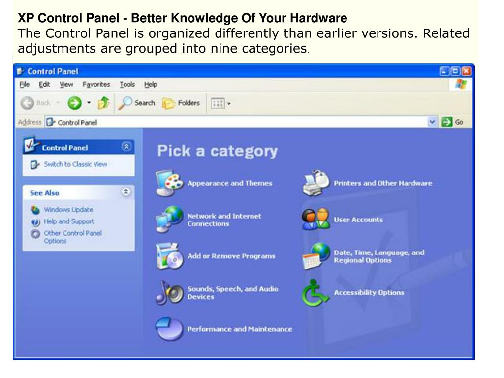 XP Control Panel - Better Knowledge Of Your Hardware