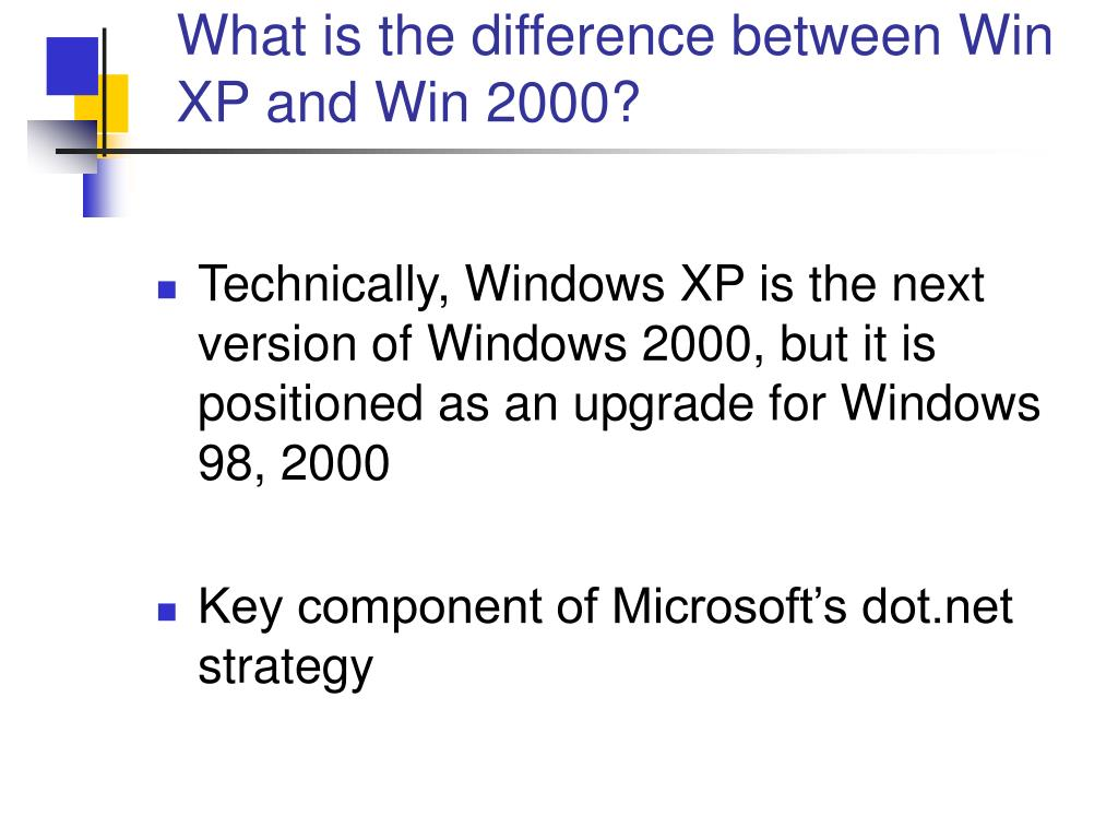 What is the difference between Win XP and Win 2000?