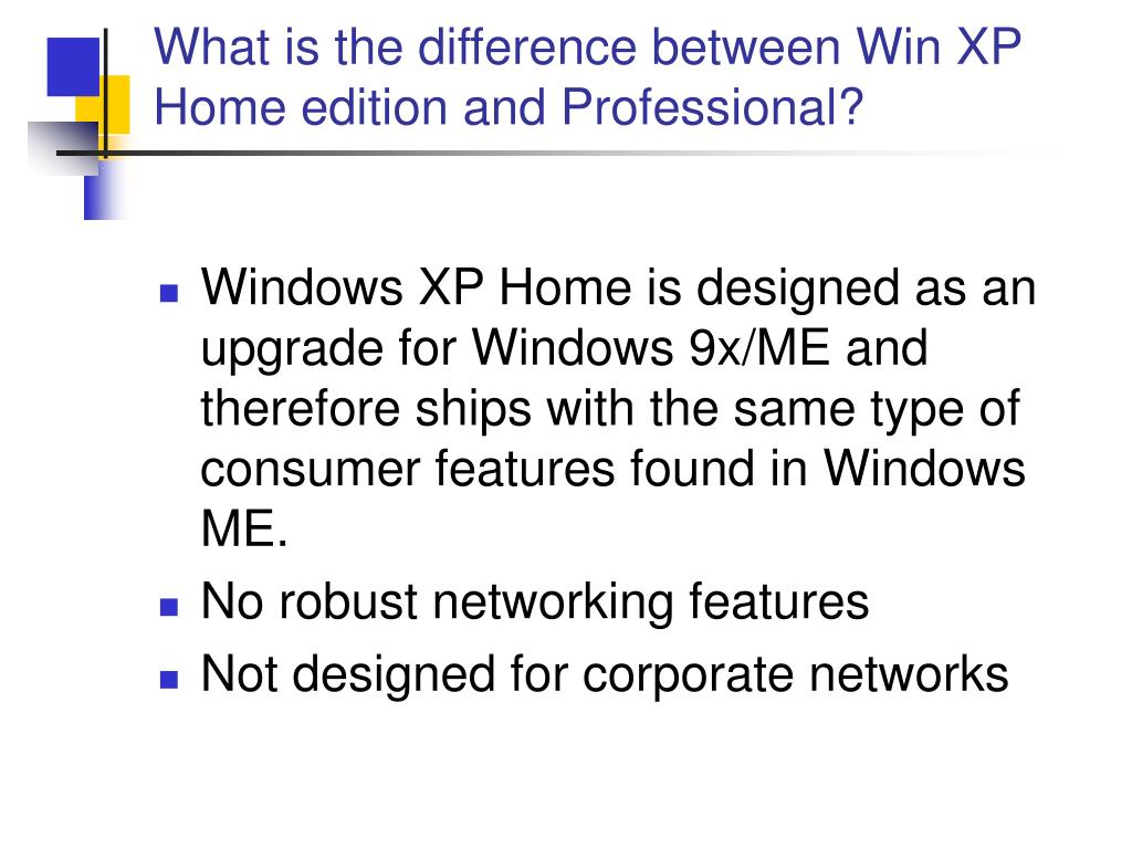 What is the difference between Win XP Home edition and Professional?