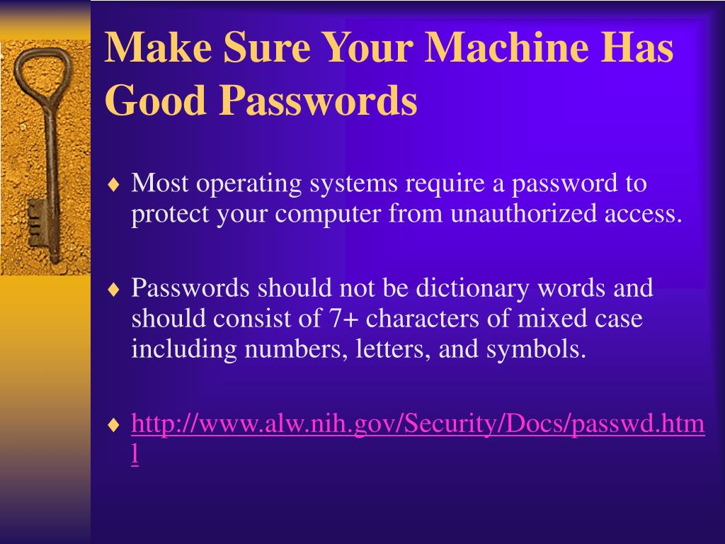 Make Sure Your Machine Has Good Passwords