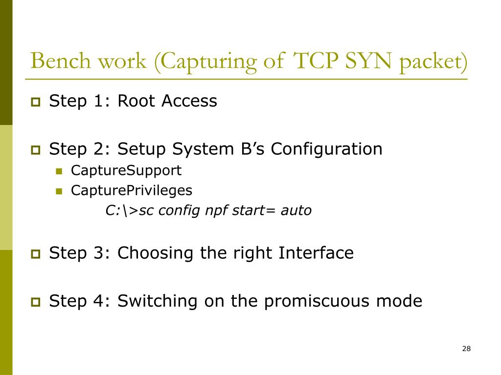 Bench work (Capturing of TCP SYN packet)