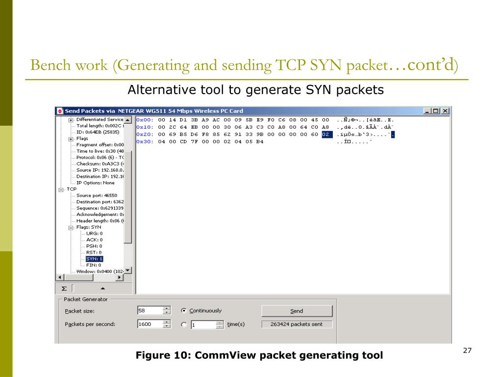 Bench work (Generating and sending TCP SYN packet