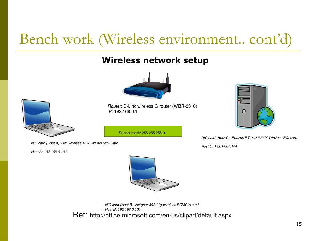 Bench work (Wireless environment.. cont'd)