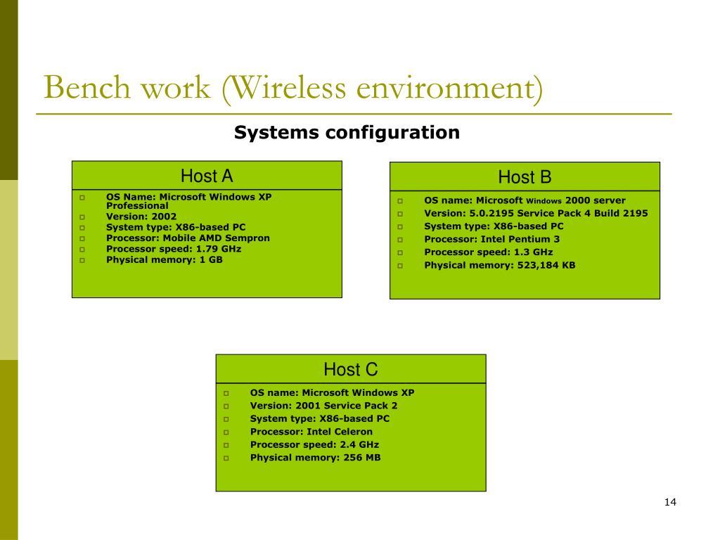 Bench work (Wireless environment)