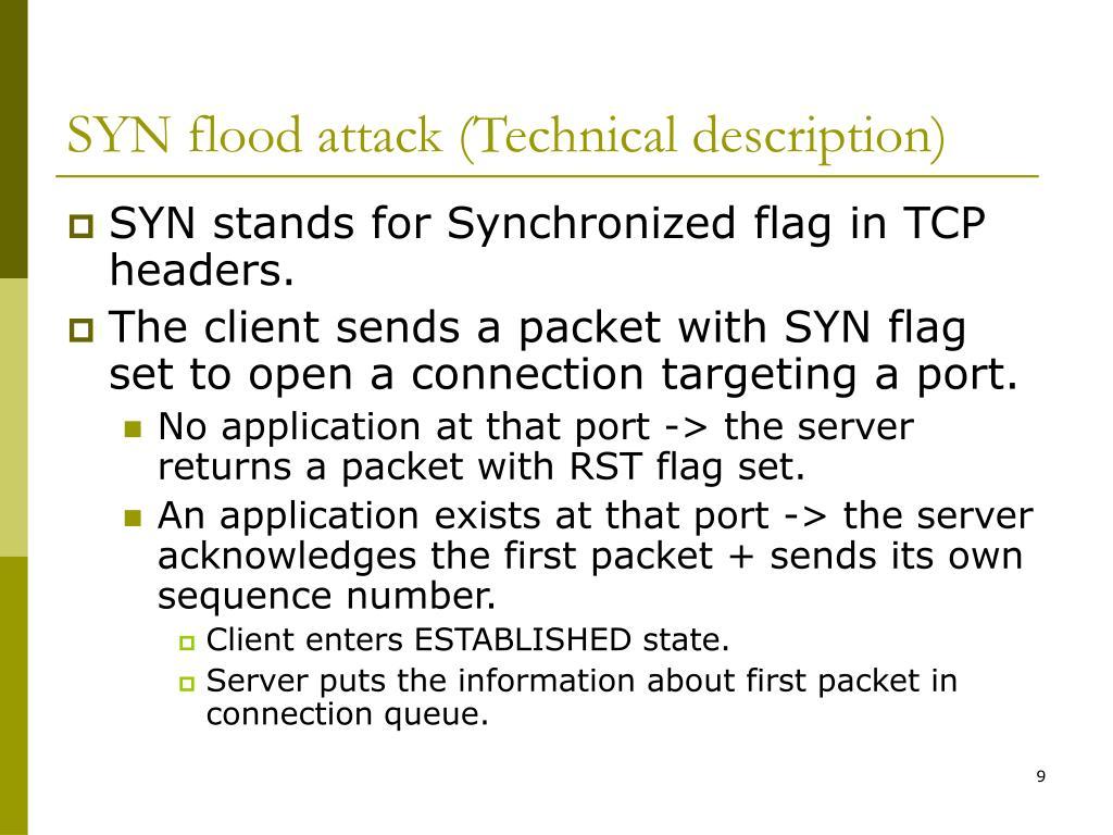 SYN flood attack (Technical description)