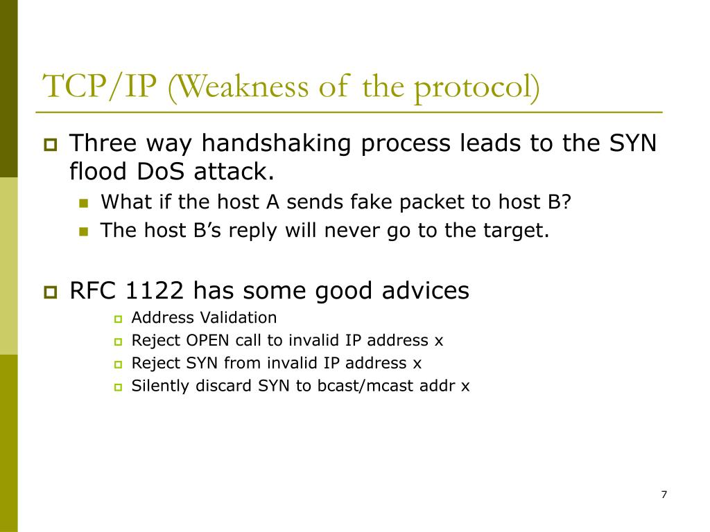 TCP/IP (Weakness of the protocol)