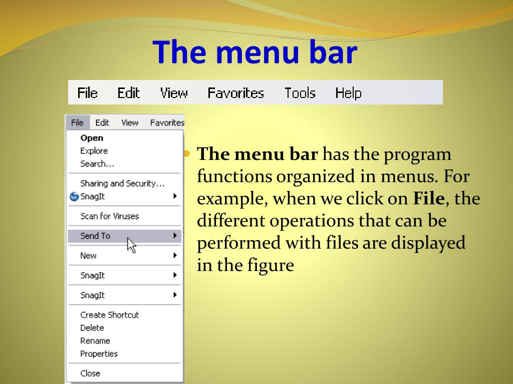 The menu bar