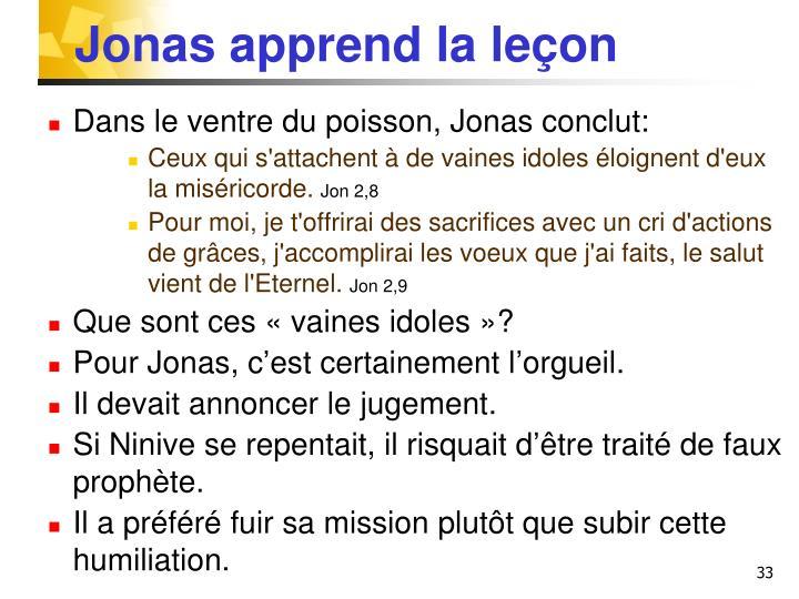 Jonas apprend la leçon