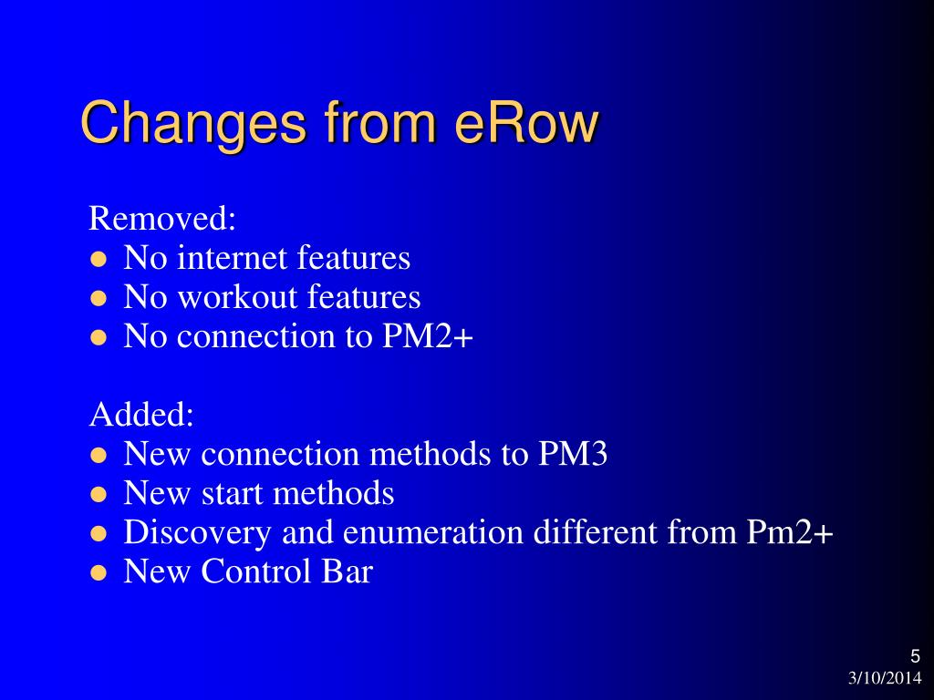 Changes from eRow