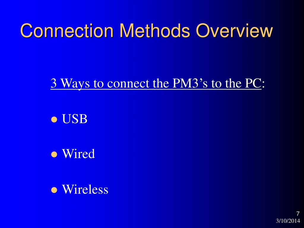 Connection Methods Overview