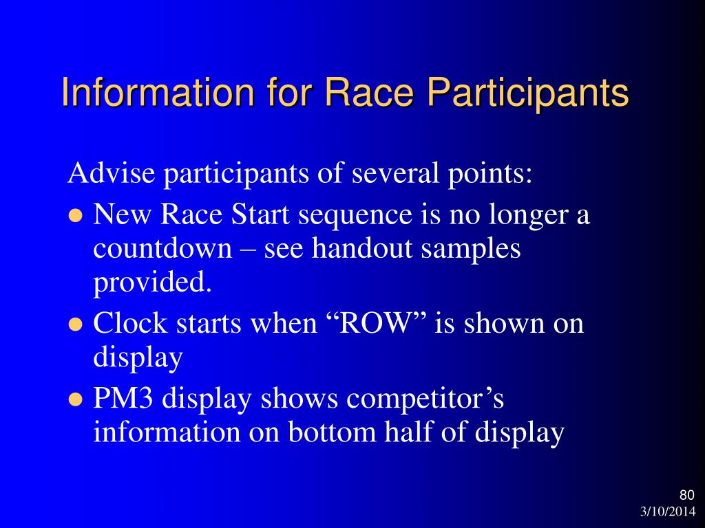 Information for Race Participants