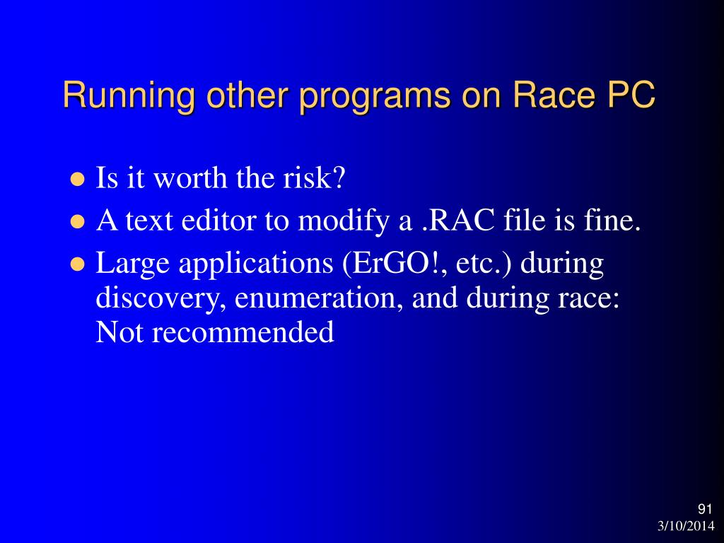 Running other programs on Race PC