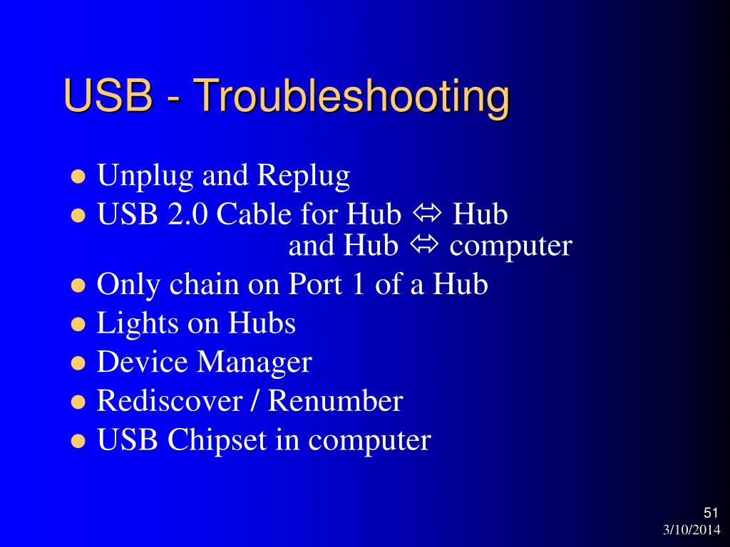 USB - Troubleshooting