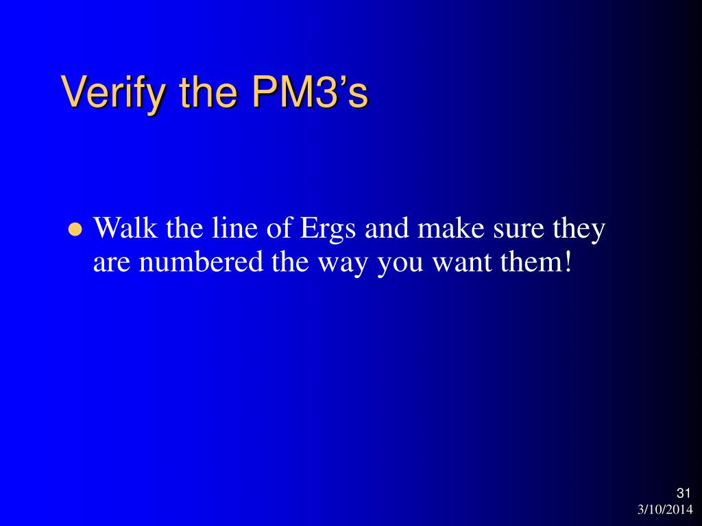 Verify the PM3's