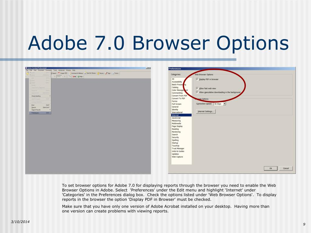 To set browser options for Adobe 7.0 for displaying reports through the browser you need to enable the Web Browser Options in Adobe. Select  'Preferences' under the Edit menu and highlight 'Internet' under 'Categories' in the Preferences dialog box.  Check the options listed under 'Web Browser Options'.  To display reports in the browser the option 'Display PDF in Browser' must be checked.
