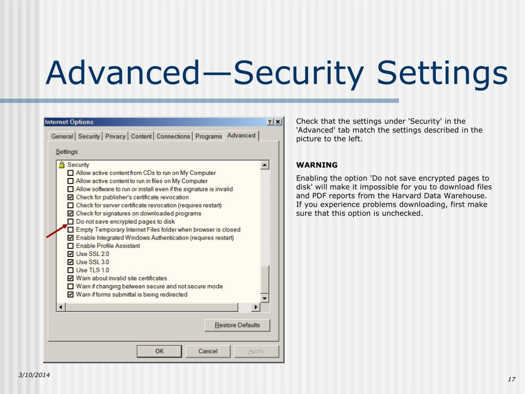 Advanced—Security Settings