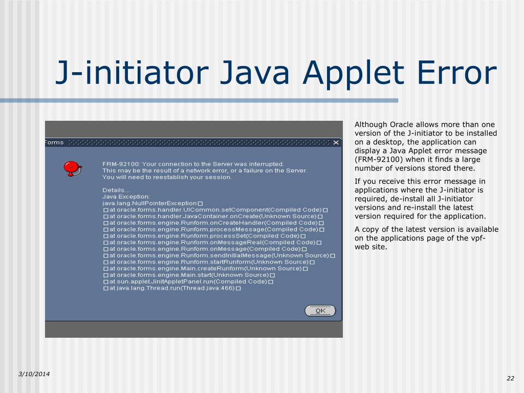 J-initiator Java Applet Error