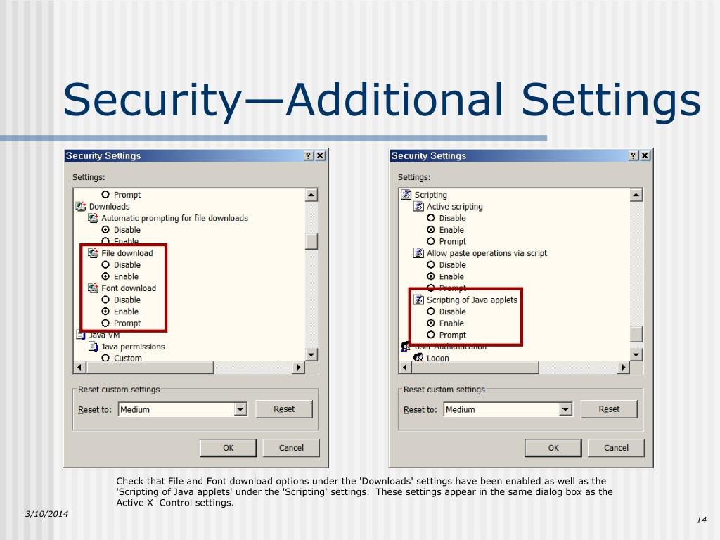 Security—Additional Settings