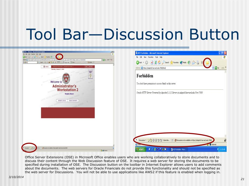 Tool Bar—Discussion Button