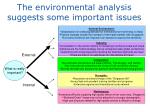 the environmental analysis suggests some important issues