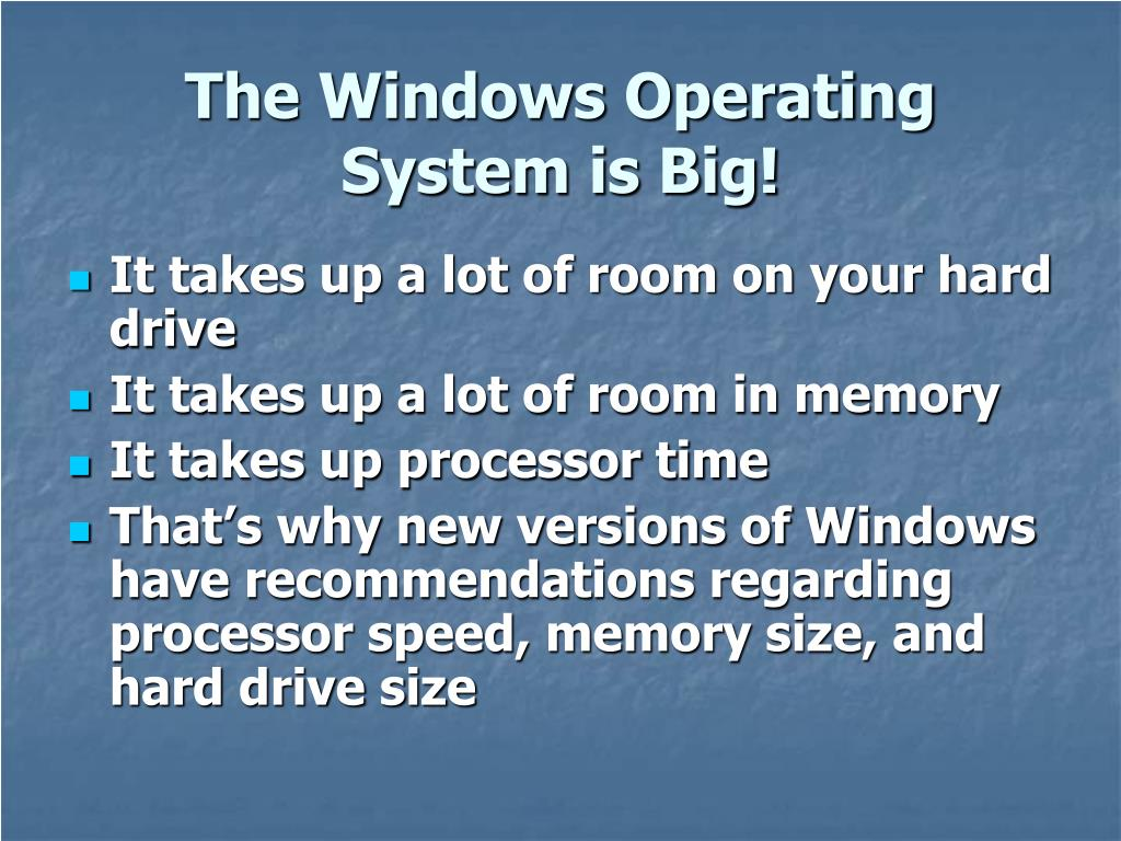 The Windows Operating System is Big!