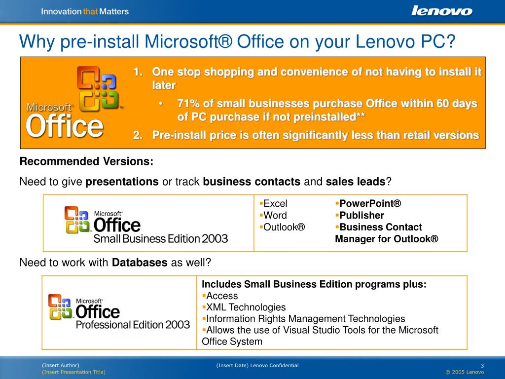 Why pre-install Microsoft® Office on your Lenovo PC?