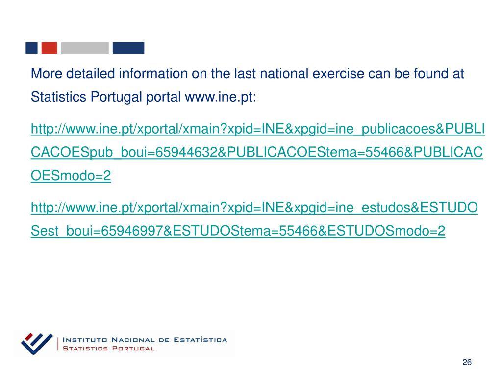 More detailed information on the last national exercise can be found at Statistics Portugal portal www.ine.pt:
