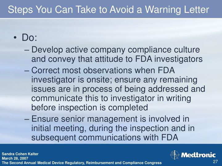 Steps You Can Take to Avoid a Warning Letter