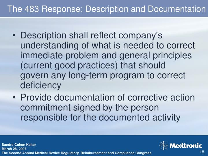 The 483 Response: Description and Documentation