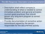the 483 response description and documentation