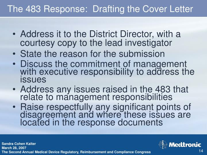 The 483 Response:  Drafting the Cover Letter